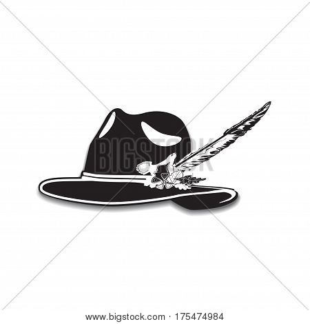 Vector illustration of hunting hat with feather and metal badge with blackcock oak leaves and acorns. Black and white flat style design.