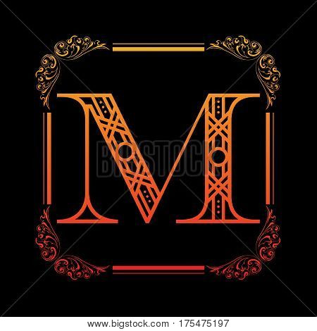 Decorative letter M with abstract frame isolated on black background