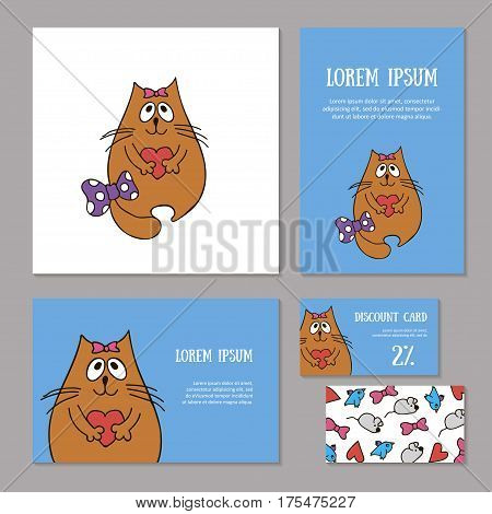 Set of animalistic elements of corporate identity for zoo store, veterinary clinic, shelter. Funny dreaming red cat with bow and heart on blue background. Booklet and discount card, vector