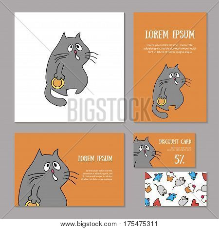 Set of animalistic elements of corporate identity for zoo store, veterinary clinic, shelter. Funny hungry plump gray cat with plate on orange background. Booklet and discount card, vector illustration