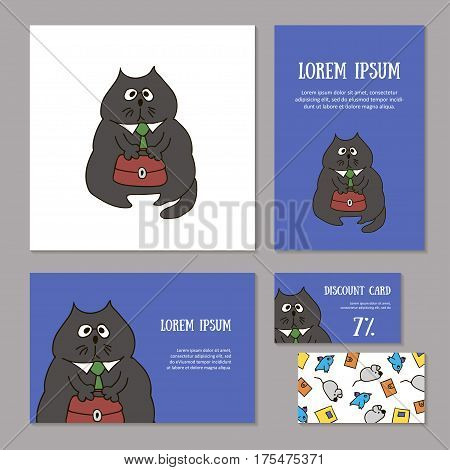 Set of animalistic elements of corporate identity for zoo store, veterinary clinic, shelter. Funny cat boss with briefcase and tie on blue background. Booklet and discount card, vector illustration