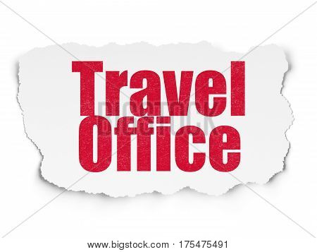 Travel concept: Painted red text Travel Office on Torn Paper background with  Tag Cloud