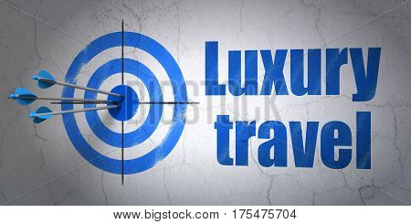 Success vacation concept: arrows hitting the center of target, Blue Luxury Travel on wall background, 3D rendering