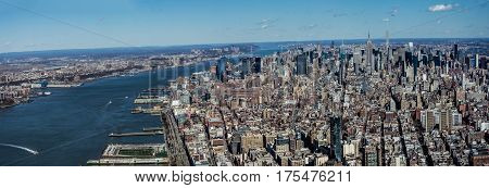 NEW YORK-MARCH 8 - A panoramic clear day view of the Hudson River and Manhattan on March 8 2017 in New York City.