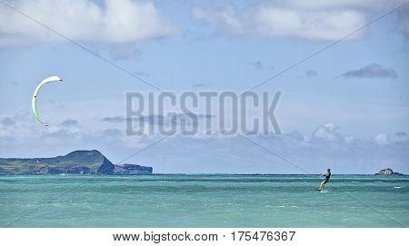 Kailua Hawaii USA - August 1 2016: Man kiteboarding in Kailua Bay off KMCAS Hawaii