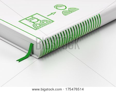 Law concept: closed book with Green Criminal Freed icon on floor, white background, 3D rendering