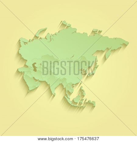 Asia map separate individual states yellow green raster