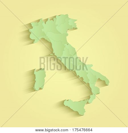 Italy map separate individual states yellow green raster