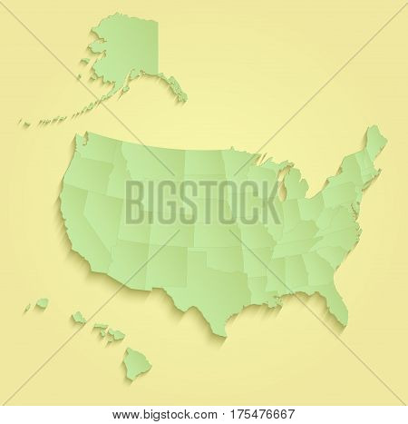 USA with Alaska and Hawaii map separate individual states yellow green raster