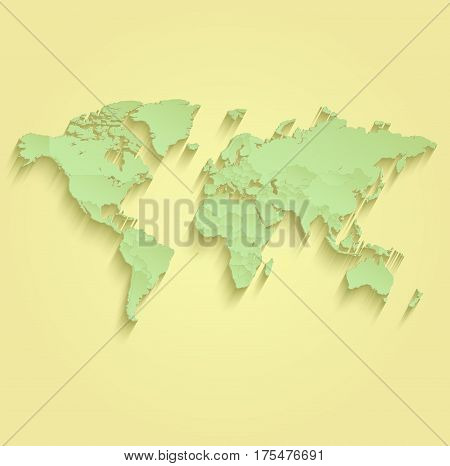 World map separate individual states yellow green raster