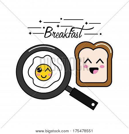 kawaii happy breakfast icon, vector illustraction design