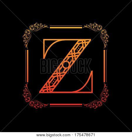 Decorative letter Z with abstract frame isolated on black background