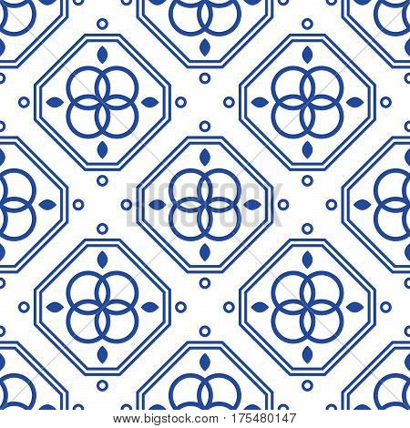 Blue and white geometric mediterranean seamless tile pattern. Abstract monochrome shapes vector texture for ceramic design, textile and wallpaper.