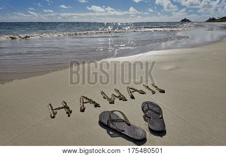 Hawaii Beach Sand writing and flip flop Slippers poster