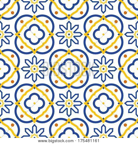 Azulejos blue and white mediterranean seamless tile pattern. Geometric spanish ceramic shapes vector texture for fabric textile and wallpaper.