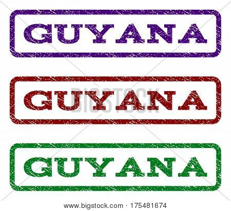 Guyana watermark stamp. Text caption inside rounded rectangle frame with grunge design style. Vector variants are indigo blue, red, green ink colors. Rubber seal stamp with scratched texture.