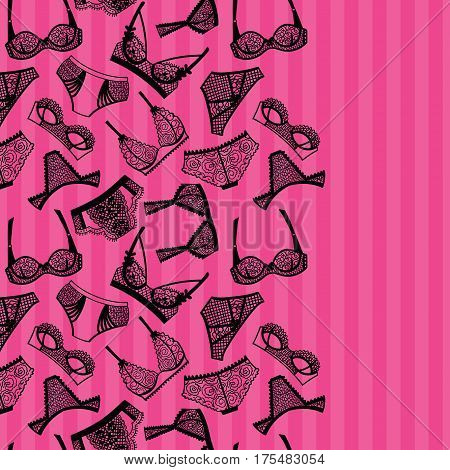 Lingerie panty and bra background. Vector illustration.
