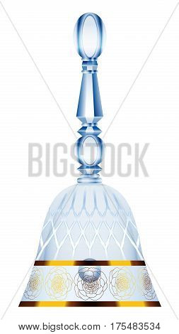Table bell, dinner bell, desk bell, are bell - luxury crystal glass with golden ornaments - isolated vector illustration on white background.