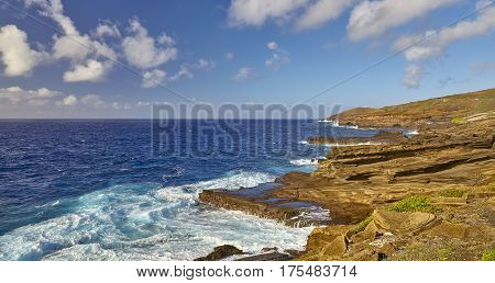 Rugged Coastline off Makapuu Point on the island of Oahu Hawaii