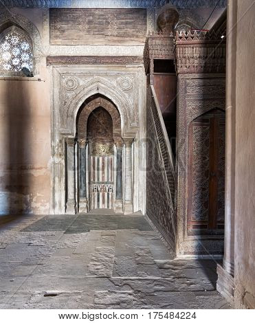 Cairo, Egypt - February 18, 2017: Mihrab (Niche) and Member (Platform) of Ibn Tulun Mosque Cairo Egypt