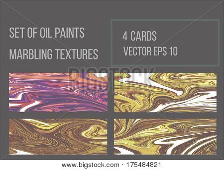 Set of vector marbled backgrounds.Oil paint texture. Handmade ebru technique Painting on water. Watercolor stains print. Abstract modern Marble pattern for art and design.