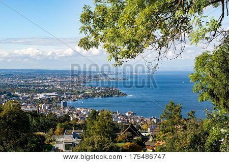 View of the Swiss Rorschach and Lake Bodensee
