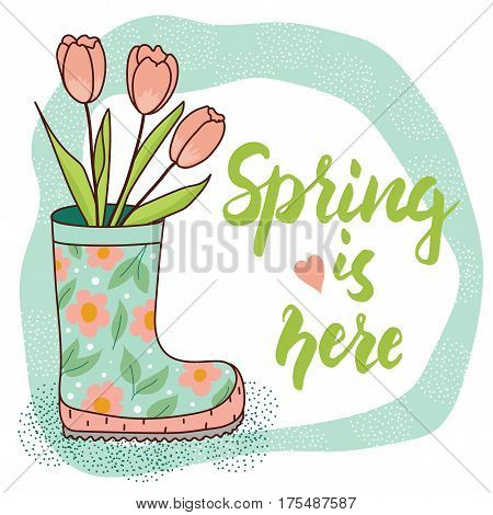 Spring card with rain boot and tulips. Vector illustration