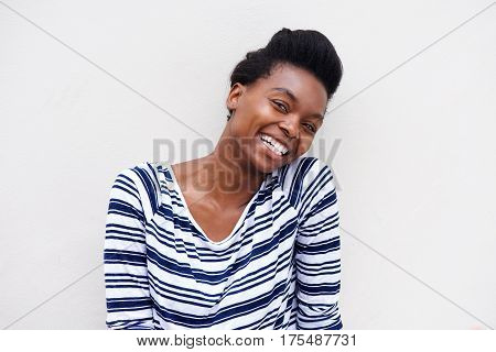 Close Up African American Woman Laughing Against White Background
