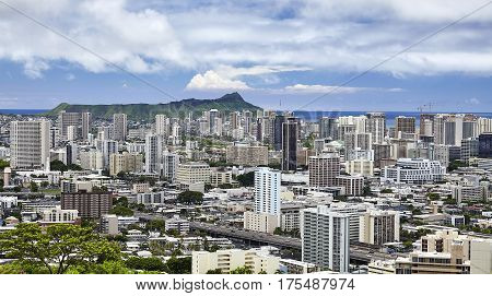 Diamond Head And Waikiki Honolulu Hawaii City Skyline