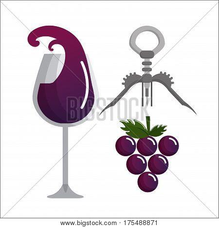 glass splashing wine, grape and take out cork, vector illustration design