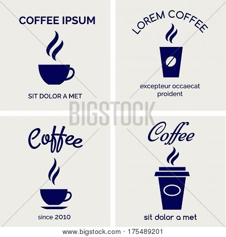 Steaming coffee or hot chocolate cups icons. Vector cafe bar or restaurant laconic cards design
