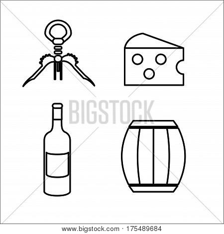 take out cork, cheese, barrel and bottle of wine, vector illustration design