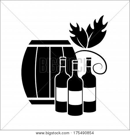 barrel and bottles of wine icon stock, vector illustration design image