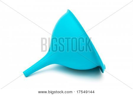 blue plastic funnel with a white background