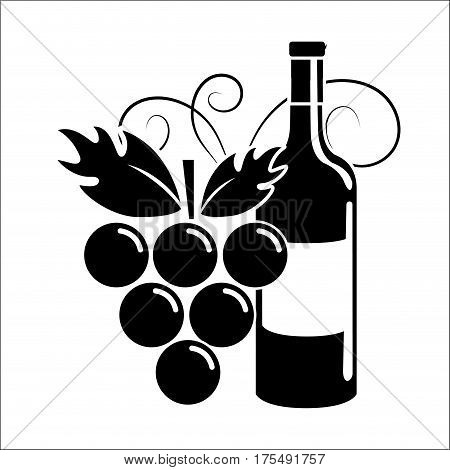 bottle of wine with grape icon stock, vector illustration design image