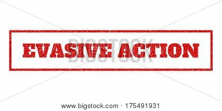 Red rubber seal stamp with Evasive Action text. Vector message inside rectangular banner. Grunge design and dust texture for watermark labels. Scratched sign.