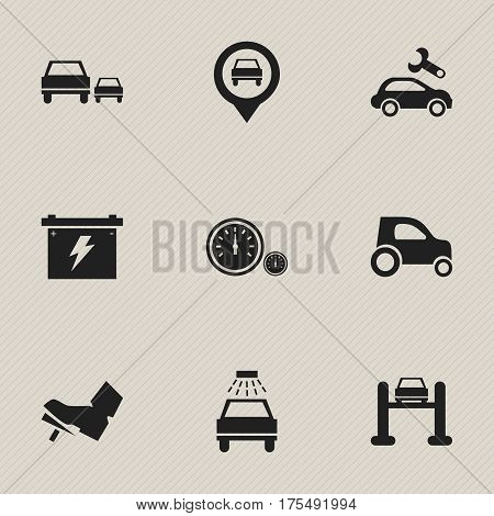 Set Of 9 Editable Transport Icons. Includes Symbols Such As Race, Treadle, Auto Service And More. Can Be Used For Web, Mobile, UI And Infographic Design.