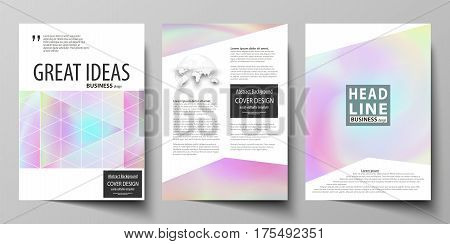 Business templates for brochure, magazine, flyer, booklet or annual report. Cover design template, easy editable vector, abstract flat layout in A4 size. Hologram, background in pastel colors with holographic effect. Blurred colorful pattern, futuristic s