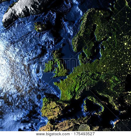 Europe On Earth With Exaggerated Mountains