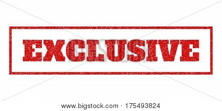 Red rubber seal stamp with Exclusive text. Vector tag inside rectangular shape. Grunge design and scratched texture for watermark labels. Scratched sign.