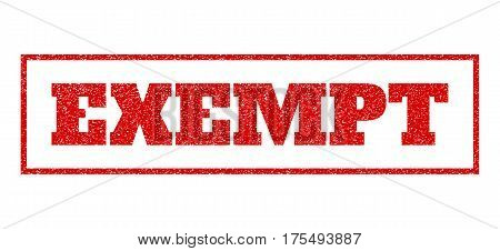 Red rubber seal stamp with Exempt text. Vector tag inside rectangular banner. Grunge design and unclean texture for watermark labels. Scratched sticker.
