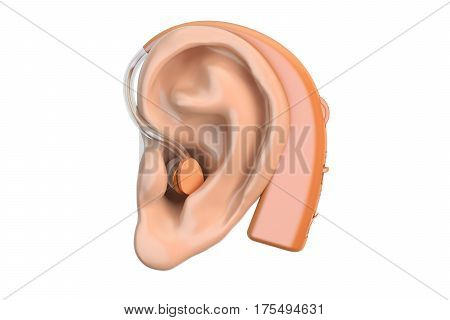 Hearing aid on ear 3D rendering isolated on white background