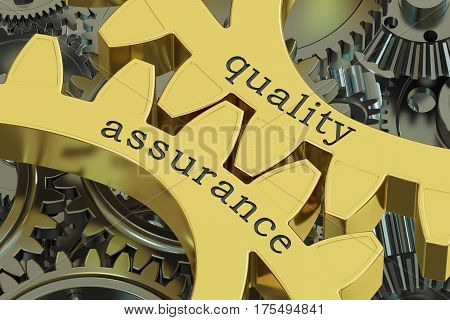 Quality Assurance concept on the gearwheels 3D rendering