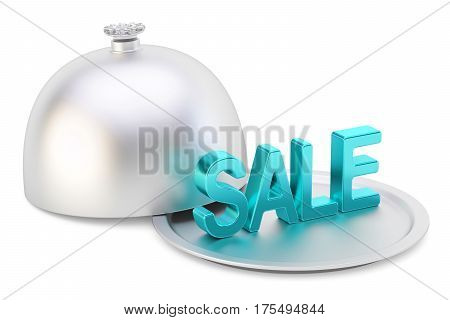 Restaurant cloche with sale text 3D rendering