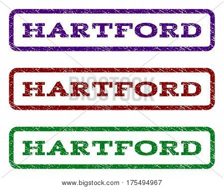 Hartford watermark stamp. Text caption inside rounded rectangle frame with grunge design style. Vector variants are indigo blue, red, green ink colors. Rubber seal stamp with scratched texture.