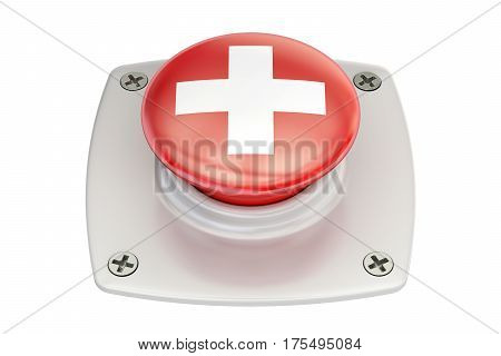 Switzerland flag push button 3D rendering isolated on white background