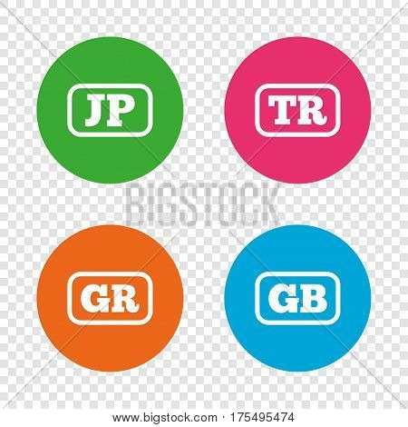 Language icons. JP, TR, GR and GB translation symbols. Japan, Turkey, Greece and England languages. Round buttons on transparent background. Vector