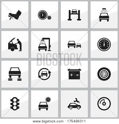 Set Of 16 Editable Vehicle Icons. Includes Symbols Such As Treadle, Car Fixing, Stoplight And More. Can Be Used For Web, Mobile, UI And Infographic Design.