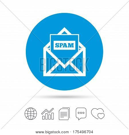 Mail icon. Envelope symbol. Message spam sign. Mail navigation button. Copy files, chat speech bubble and chart web icons. Vector