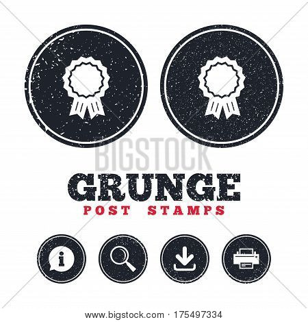 Grunge post stamps. Award medal icon. Best guarantee symbol. Winner achievement sign. Information, download and printer signs. Aged texture web buttons. Vector